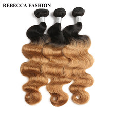 Rebecca Malaysian Body Wave Human Hair Bundles Deal 1b/27 1b/30 Light Brown Remy Ombre Hair Extensions 10 To 30 Inch 3 Bundles(China)