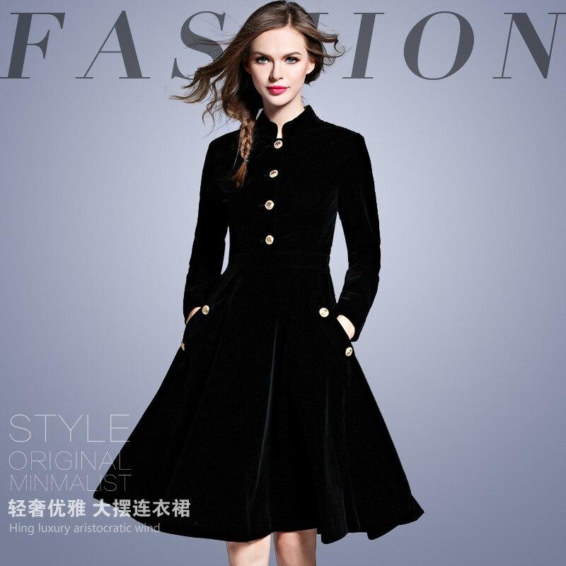 Élégant noir velours Robe hiver robes femmes 2019 Vintage à manches longues dames bureau robes Vestidos Robe Femme Vestido - 5