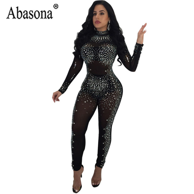 cd168cd774 Abasona Autumn Women Sexy Diamond Long Jumpsuit Women Turtleneck Long  Sleeve Bodycon Jumpsuit Nightclub See Through Mesh Romper