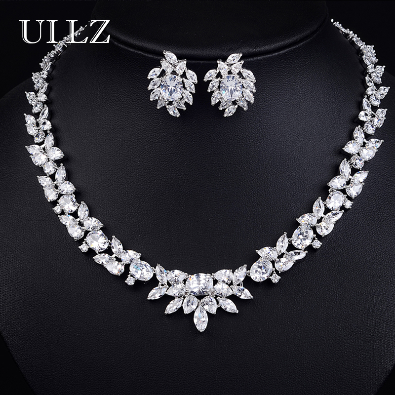 UILZ Fashion AAA Clear Cubic Zircon Jewelry Sets Sparkling Crystal Flower Earrings Necklace Set for Women Dinner Dress US156 uilz luxury flower shape clear cubic zircon necklace earrings bracelet ring jewelry set for women wedding us225
