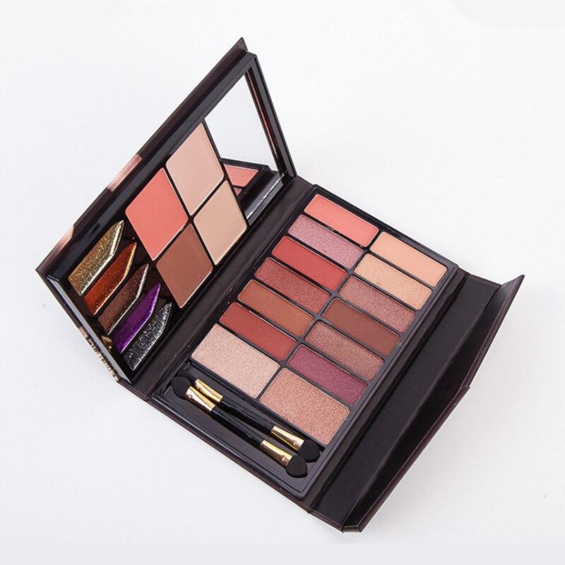 Anylady Makeup Set Diamond Glitter Eyeshadow + Highlighter + Blusher + Lipstick + Powder+ Matte Shimmer Eye Shadow Palette