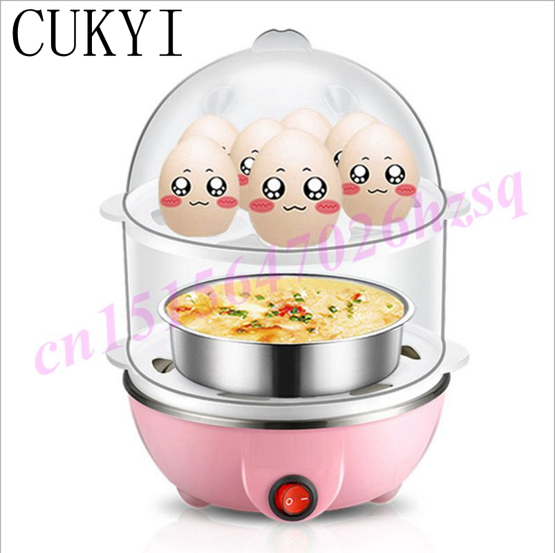 CUKYI High Quality New Generic Multi-functional Double-Layer Electric Eggs Boiler Cooker Steamer Home Kitchen Use 220V eggs steamer chicken shaped microwave 4 egg boiler cooker novelty kitchen cooking appliances steamer home tool