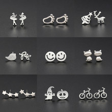 2019 New Geometric Earrings 925 Silver Snowflake Stars Moon Smiley Stud for Women Girls Jewelry Kids Accessories