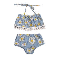 2pcs!!Floral Newborn Infant Baby Kids Girls Clothes Set Floral Tassel Tube Top +Flower Shorts Outfits Clothes