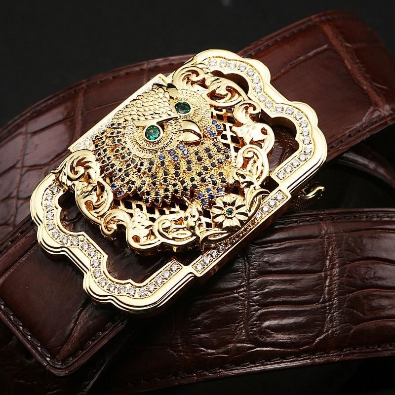 Luxury Genuine Crocodile Leather Belt Men High end Stainless Steel Buckle Rhinestone Owl Design Waist Belt Crocodile Skin Male - 4