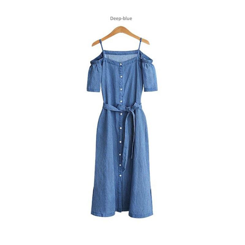 Brand Large size Dresses women s XL 4XL Summer leisure 2019 new style denim Dresses Short sleeve Shoulder strap Long Dress in Dresses from Women 39 s Clothing