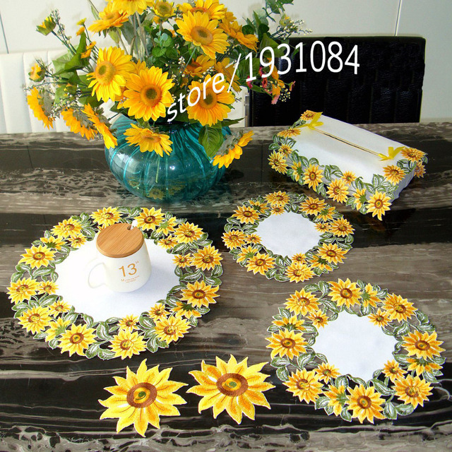 Table Mat Golden Sunflower Garden Simple High Grade Embroidered Tablecloths  Coffee Table Towel Table Runner