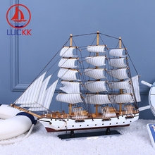 LUCKK 60CM Wooden Sailing Boat Model Ships Modern Home Interior Decoration Room Desk Office Accessories Wood Craft Toys Figurine