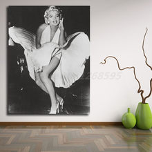Marilyn Monroe In Billowy White Dress Canvas Painting Print Living Room Home Decor Modern Wall Art Oil Painting Poster Artwork(China)