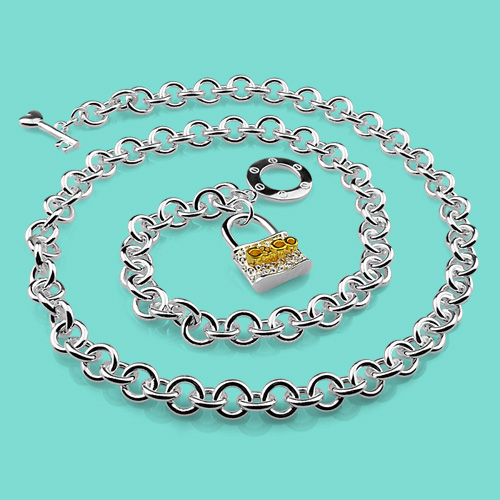 Fashion Women's Solid Silver Necklace 925 Sterling Silver Lock Pendant Design clavicle Necklace Punk Style Girl Charm Jewelry fashion cool punk style pendant necklace brown virgo theme