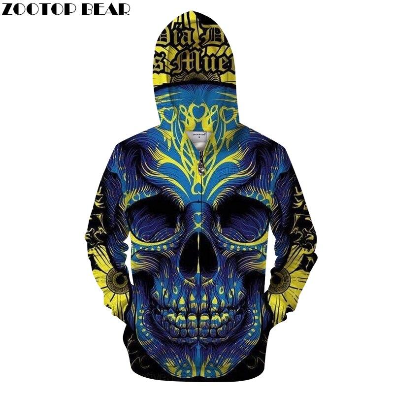 Girly Skull 3D Zip Hoodie Men Zipper Hoody Male Tracksuit Casual Sweatshirt LongSleeve Streatwear Pullover DropShip ZOOTOPBEAR