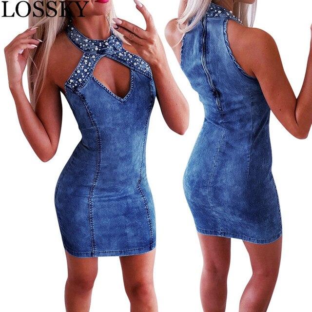 Bodycon Blue Denim Halter Mini Dress Sexy V Neck Sleeveless Hollow Out Women Summer Club Dress Slim Zipper Dresses Vestidos Robe 1