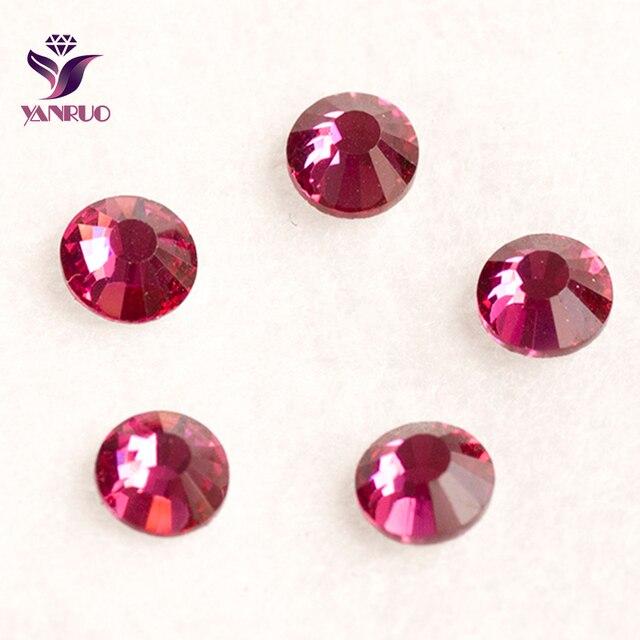 YANRUO Fuchsia Red Ruby Color Strass Non Hotfix Glue on Nail Crystal  Rhinestones Craft Supplies Dance 9c265575d261