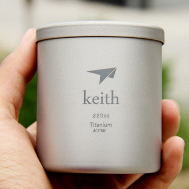 Keith 220 ml Fincan Titanyum Çift duvar Kupa Kapaklı Su Cam Hiçbir Koku Hiçbir Ölçekli Bakteriyostatik Drinkware Kupalar kamp Yürüyüş Ti80