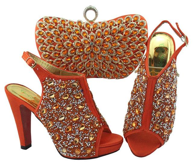 Women Shoes and Bag Set In Italy coral Color Italian shoes and bags to match Decorated with Rhinestone Nigerian Wedding QSL005