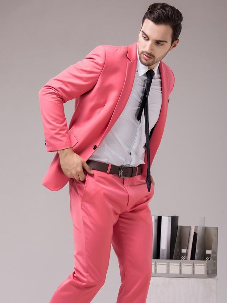 2017 Latest Coat Pant Designs Hot Pink Men Suit Terno Slim