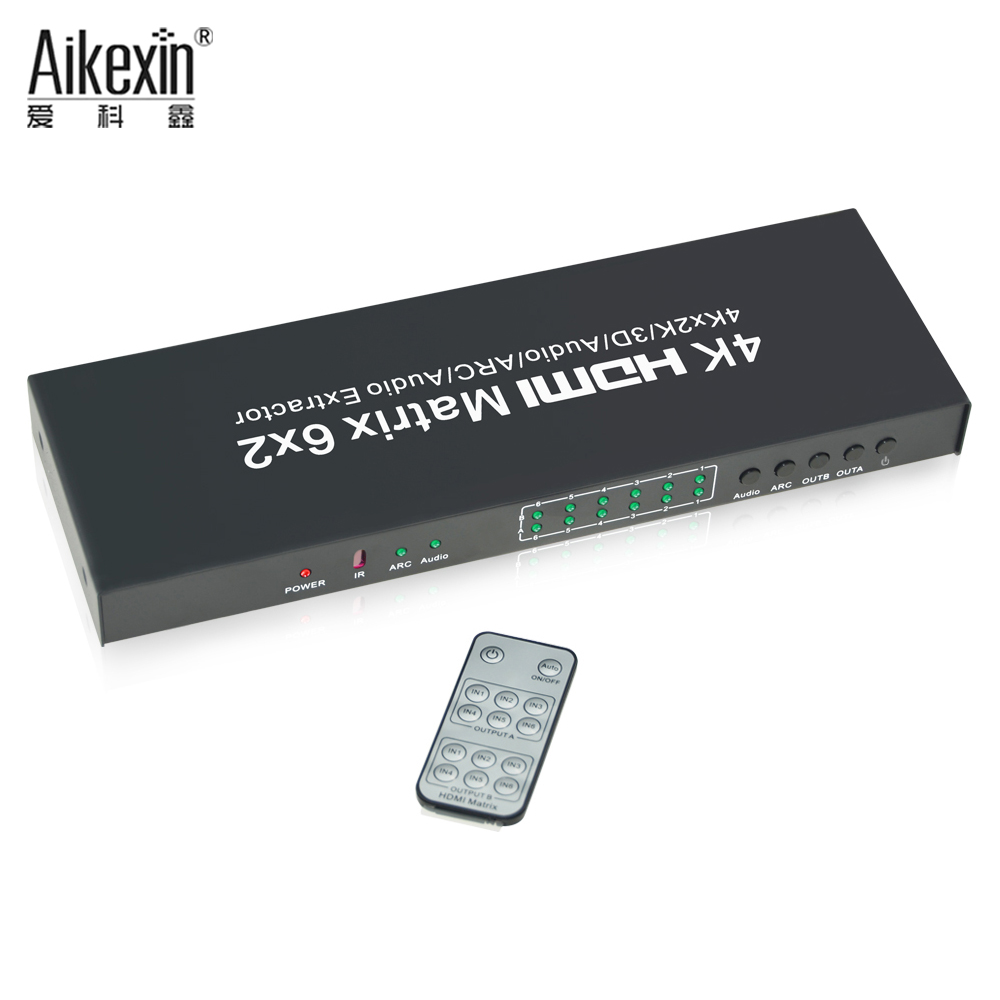 Aikexin 1.4V HDMI Matrix Switch 6x2 4K HDMI Switcher with HDMI Audio Switch Extractor,SPDIF+3.5mm Audio Output with IR Remote touchstone teacher s edition 4 with audio cd