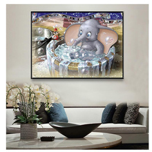 Full Square Diamond Painting Cartoon Pattern Cross Stitch Mosaic Elephant bathing Embroidery Needlework Decor
