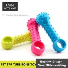 TPR eco-friendly pet toy Tube bone rubber toy bite molar relax pet toy molar toy bite resistance 1pc/lot