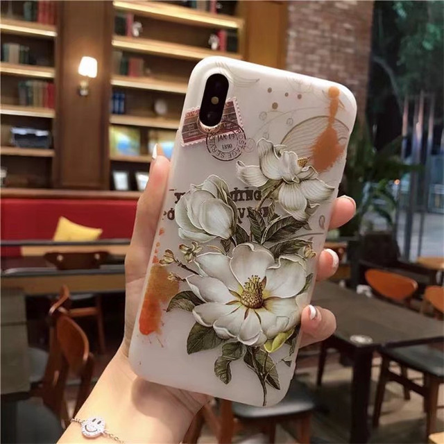 hot sale online 3df29 b6229 US $4.14 |3D Flower Patterned Case For iPhone X Cover Soft Silicone Floral  Protect Cover For iPhone X 10 Phone Cases Luxury Christmas Gift-in Fitted  ...