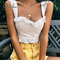 Ordifree 2018 Summer Women Tank Top Cami Tube Ladies Tops White Lace Sexy Crop Top Camisole