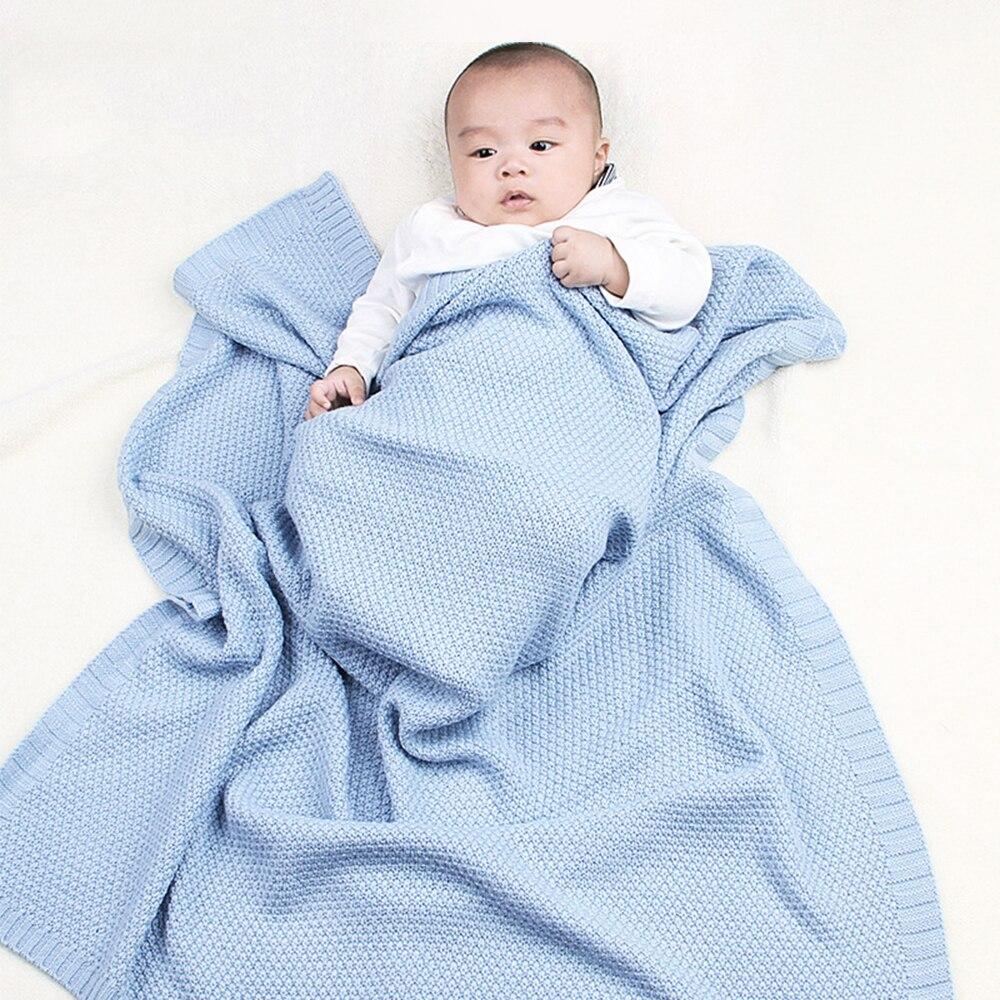 Knitted Baby Blankets Newborn Muslin Swaddle Organic Cotton Children's Bed Blankets Soft Bedding Baby Swaddle Newborns Blanket