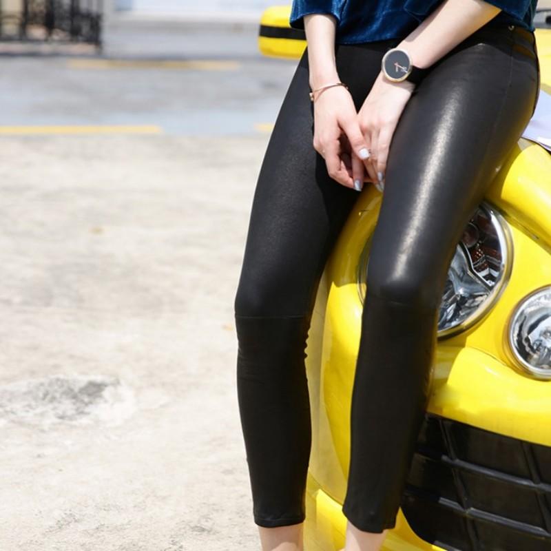 Панк рейв женские готические сексуальные леггинсы с дырками стимпанк эластичные облегающие Женские брюки модные кожаные леггинсы - 5