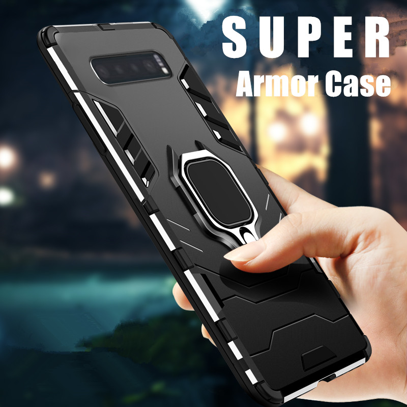 KEYSION Ring <font><b>Holder</b></font> <font><b>Phone</b></font> <font><b>Case</b></font> for <font><b>Samsung</b></font> Galaxy S10 Plus S10e <font><b>S9</b></font> Note 10+ 5G 9 Soft TPU Silicone Hard PC Adsorption Back Cover image