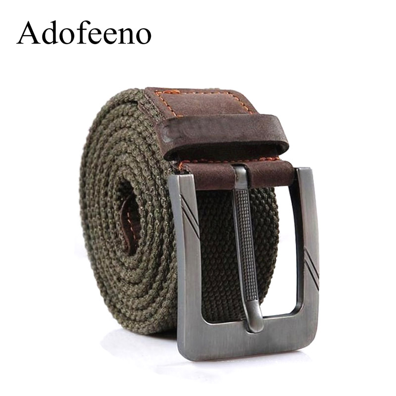 US $8 45 5% OFF|Adofeeno Quality Military Belts for Men Tactical Wide  Buckle Strap Casual Belt Male Genuine Leather Canvas Cintos Masculinos-in  Men's