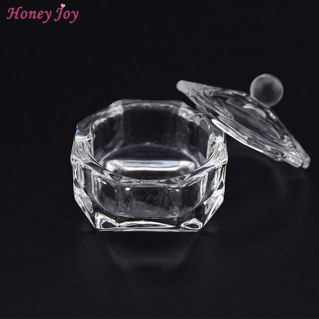 Octagon Crystal Clear Acrylic Liquid Powder Glass Dappen Dish Glass Cup w Cap Lid Bowl for Acrylic Nail Art Transparent Kit