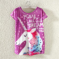 2017 New Arrivals Women Fashion T shirt Short Sleeve Cat Unicorn Printed 7 color t-shirt Casual Tee Shirts Street Tops