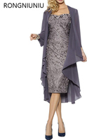 Elegant Mother Of The Bride Lace Gray Silver Gray Dresses Plus Size With Shawl Short Formal