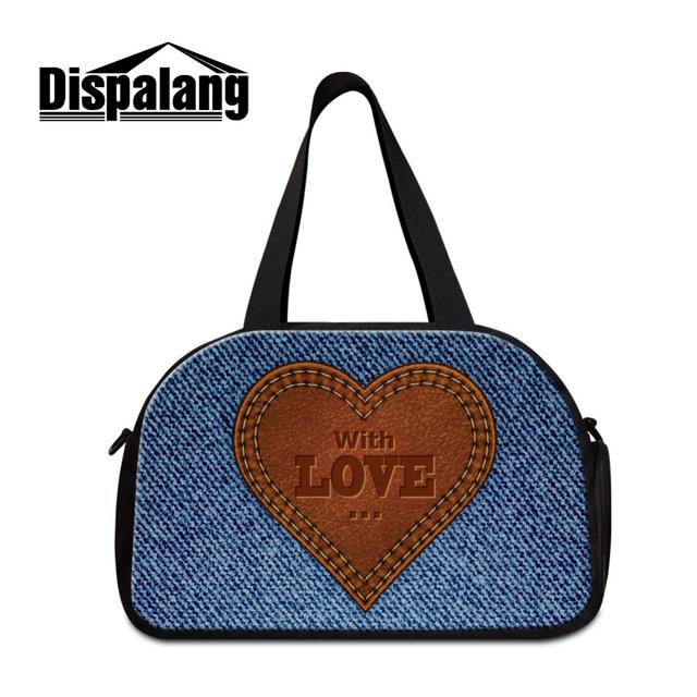 Dispalang viajar saco da bagagem saco da bagagem dos homens denim mulher com alça de ombro mochila negócio coração duráveis multifunções bolsa
