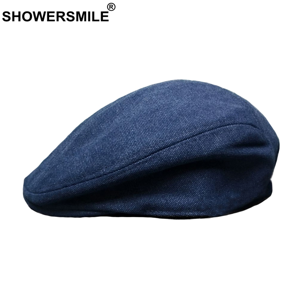 SHOWERSMILE Blue Hat Beret Women Vintage Cotton Flat Cap Men Summer Breathable Solid Gatsby Style Caps High Quality Duckbill Hat