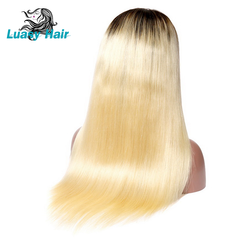 Luasy Dark Root Blonde Human Hair Wig For Black Women Remy 1B 613 Brazilian Ombre Lace Front Human Hair Wig With Baby Hair 13x4