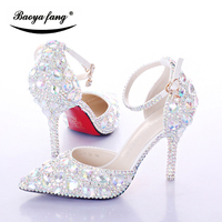 New Womens Wedding Shoes Summer Female Party Sandals Bling Crystal Ankle Strap Shoes Woman Fashion Pointed