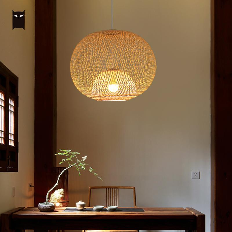 60cm Hand Bamboo Rattan Wicker Chandelier Fixture Chinese Rustic Hanging Ceiling Lamp Ball Plafon Lustre Avize Lighting Foyer