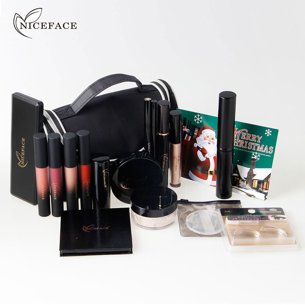 (Cadeau de noël) Fascinant Maquillage Kit avec Mat Rouge À Lèvres Liquide Surligneur Fard À Paupières Faux Cils Fondation Brosse Ensemble