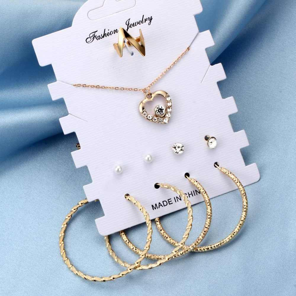 Hesiod Classic Fashion Jewelry Sets for Women Gold Silver Heart Pendant Fairy Pendant Necklace Big Circle Hoop Earrings Women