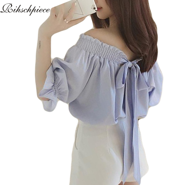 Rihschpiece Off Shoulder Ruffle Top Bow Vintage Women Tops and Blouses 2016 Shirts Tunic Ladies Blouse RZF164
