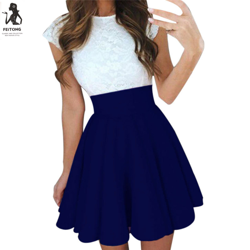 FEITONG Summer Black Gray Blue Pleated Skirts for Teenagers ...