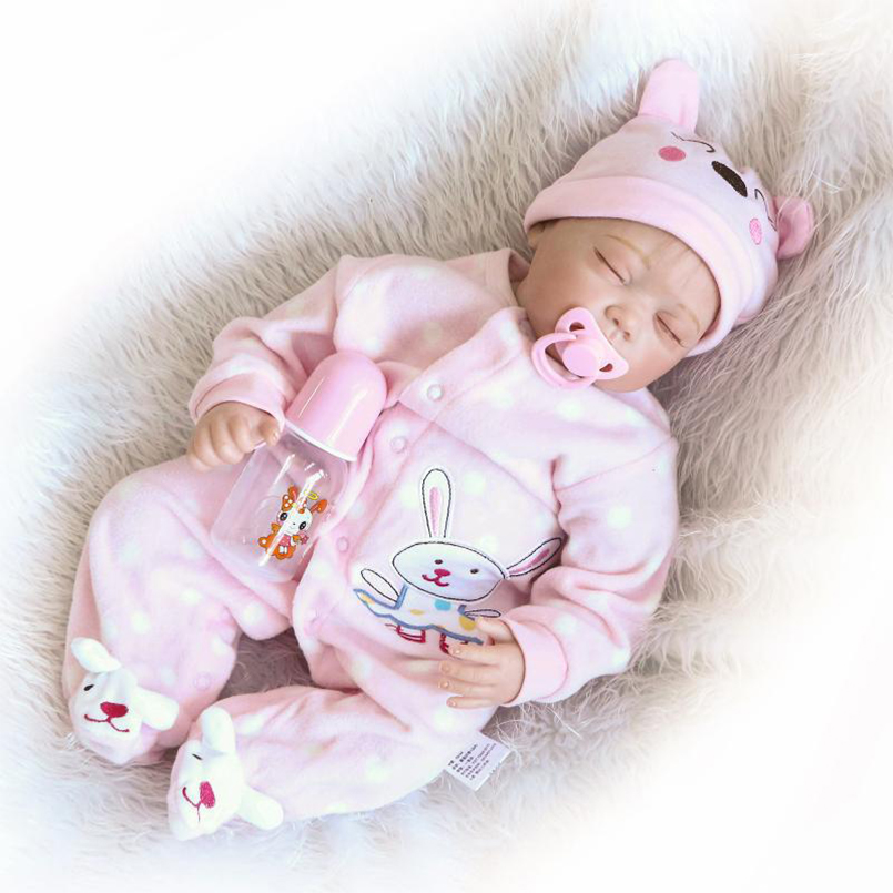 Reborn Baby Doll 22 inch Fashion Toys for girls Sleeping Baby Lifelike dolls with pink Rabbit Clothes Mohair Reborn 15g brown and blonde 100% pure natural fashion mohair doll hair 6 inches for reborn baby dolls angora goat wig accessories