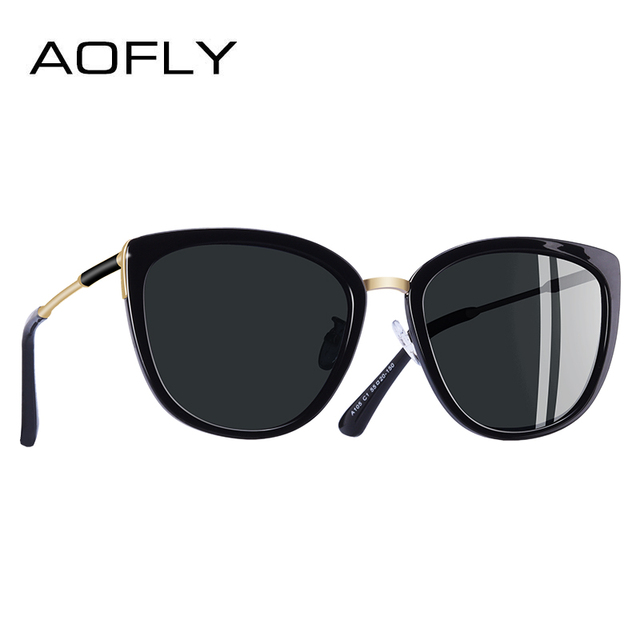 AOFLY BRAND DESIGN New Cat Eye Sunglasses Women Fashion Small Polarized Sunglasses Metal Legs Shades UV400 A105