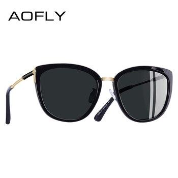 7dd4afe9a0cee AOFLY marca nuevo diseño de ojo de gato gafas de sol de moda de las mujeres  pequeñas gafas de sol polarizadas de Metal tonos UV400 A105