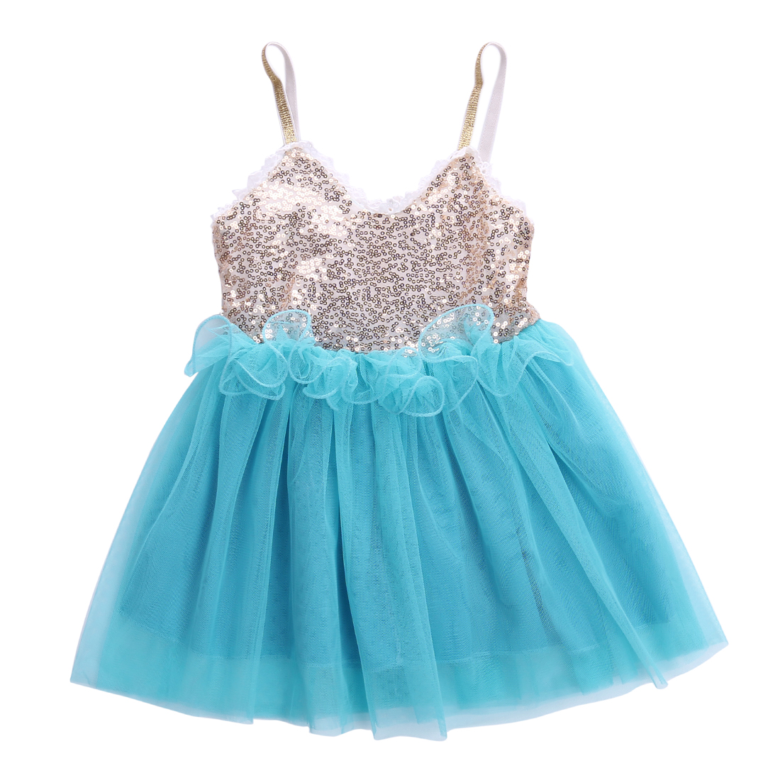 2017 New Baby Girl Clothes Clothing Sequins Princess Dress Lace ...