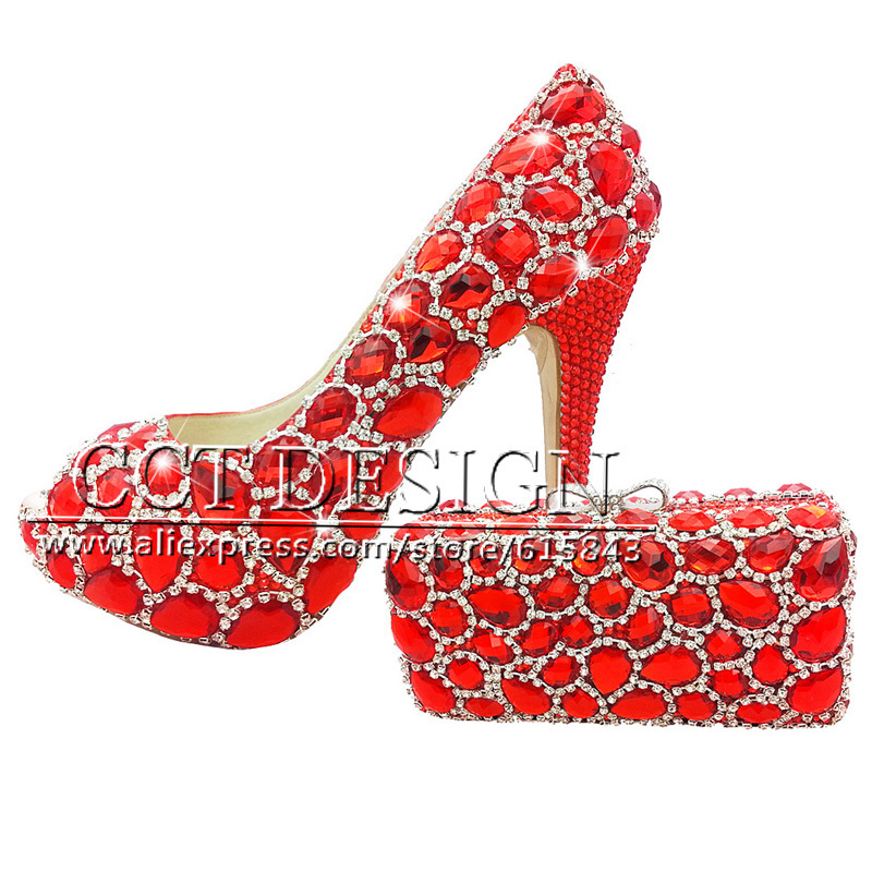 Shoes Woman Red Wedding Shoes Customized  Diamond Peep Toe High Heels Platfrom Party Evening Shoes Italian Shoes And Bag Set something red wedding shoes customized sparkly diamond red high heels platfrom party evening shoes italian shoes and bag set