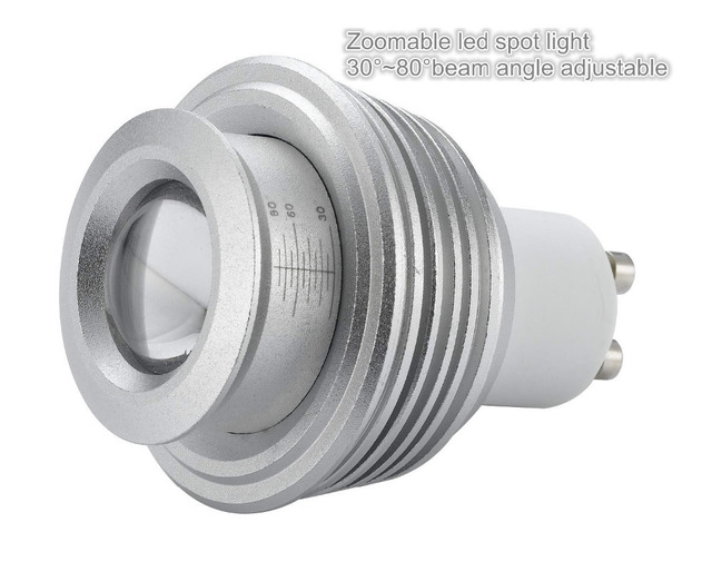 High Lumen Telescope 5W MR16 COB LED Spotlights Bulbs from 30 to 80 degree zoomable led spot light with COB sharp chip