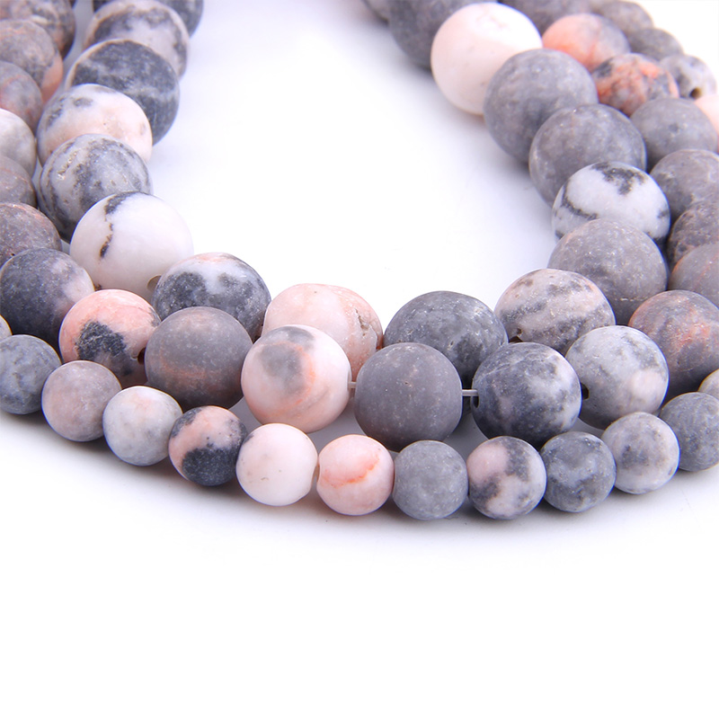 VINSWET 6 8 10 12mm Matte natural Stone beads Pink Zebra round bead spacer jewelry Beads