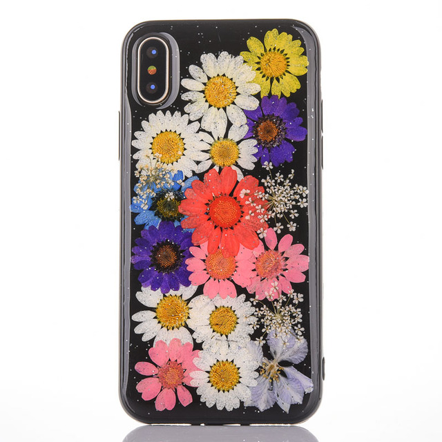 d9faea805b93e1 DIY Handmade Natural Real Dried Flowers Phone Case For Iphone X Soft Black  TPU Silicone Back