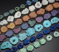 7 Color choice,Full strand Titanium Solar Quartz Druzy Geode Drilled Loose Beads,Sun Flower Raw Crystal Large Rock Drusy 30 35mm